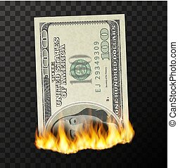 factice, usa, billet banque, brûler, dollars, une, flammes, brûlé, cent