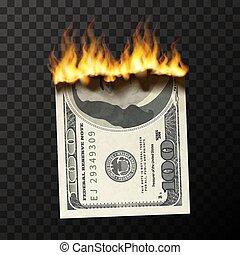 factice, usa, brûlé, billet banque, brûler, dollars, une, flammes, réaliste, cent