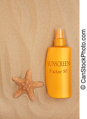 Factor Fifty Sunscreen - Factor fifty sunscreen bottle with...