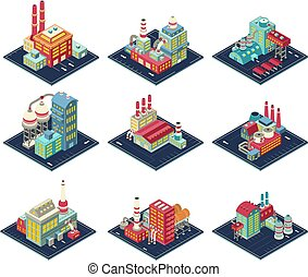 Factories Isometric Compositions Set