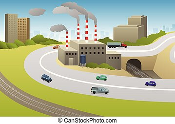 Factories Plants Cars Highway Illustration