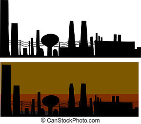 Silhouette industrial scene with factories in isolated and smoggy background
