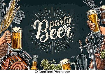 factory., びん, 缶ビール, 醸造所, クラス, 蛇口, セット, タンク