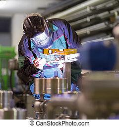 factory., 金屬, 工業的工人, 銲接