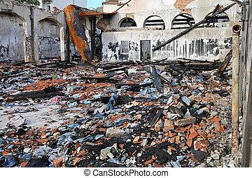 Factory After Fire - Burned Sweatshop Garment Factory After...