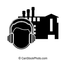 factory and worker with earmuffs icon