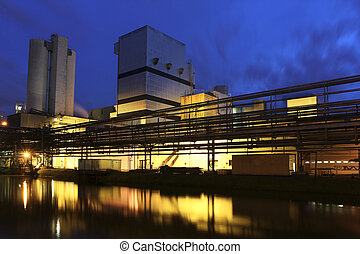 Factory at dusk