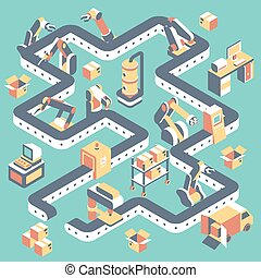 Factory automated production line vector flat isometric illustration