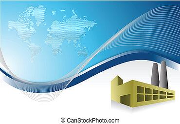 factory blue business background illustration design