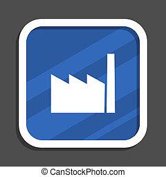 Factory blue flat design square web icon