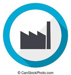 Factory blue flat design web icon
