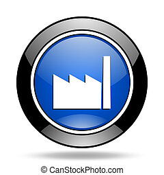 factory blue glossy icon