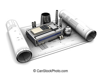 factory blueprints - 3d illustration of factory design and...