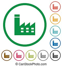 Factory building flat icons with outlines