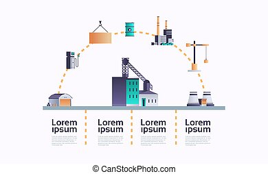 factory building icon infographic template plant with pipes and chimney power station extraction production and transportation oil industrial equipment copy space horizontal flat