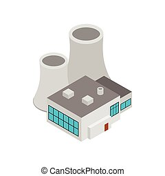 Factory building icon, isometric 3d style
