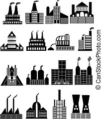Factory building icons set