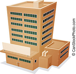 Illustration of a cartoon administrative or factory building tower with blank sign