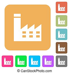 Factory building rounded square flat icons