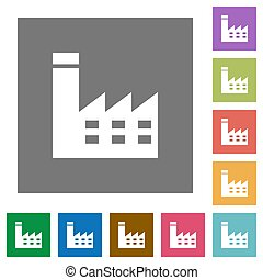 Factory building square flat icons