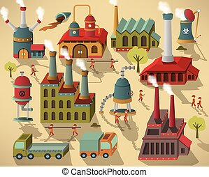 Factory - buildings and workers - Vector illustration of...