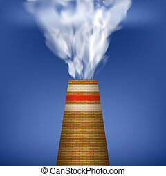 Factory Chimney and Smoke on Blue Background. Environmental Pollution