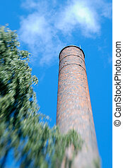 Factory Chimney Zoom - Old factory chimney made of brick....