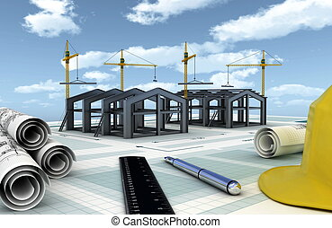 Factory Construction - Concept of designing and building an...