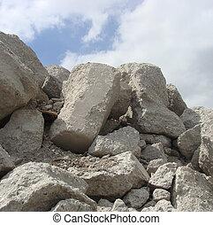 factory demolish large chunk of cement block