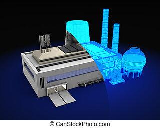 factory design - 3d illustration of wireframe factory design