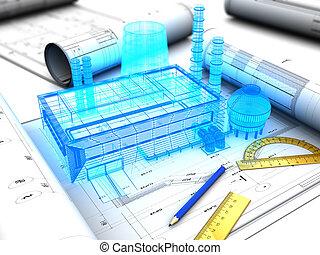 factory design - 3d illustration of factory design concept