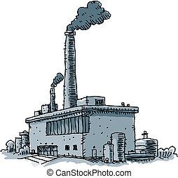Factory - Smoke billows from the smokestacks of a cartoon...