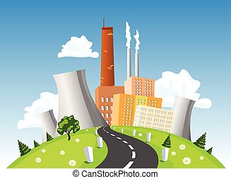 Factory, electrical generating plant, atomic or nuclear power plant on the hill, vector illustration