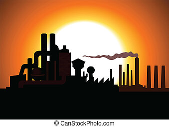 Factory - Silhouette illustration of a factory