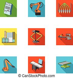 Factory equipment and machines and other web icon in flat style.New production technologies icons in set collection.