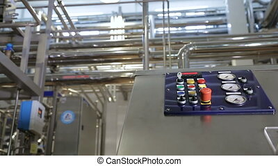 Factory equipment controllers. Modern factory interior....