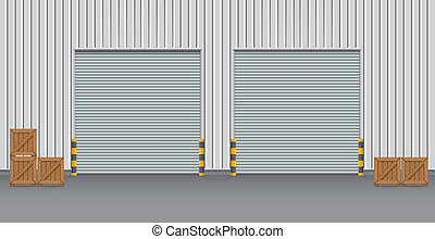 ... Factory - Exterior of factory with shutter door night time.  sc 1 st  Can Stock Photo & Factory entrance Illustrations and Clipart. 670 Factory entrance ...
