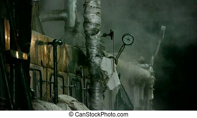 Factory filled with steam.dim light