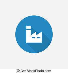 factory Flat Blue Simple Icon with long shadow