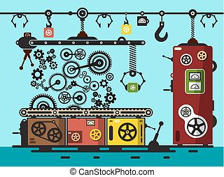 Factory Flat Design Interior with Cogs, Gears. Vector Line of Production Illustration.