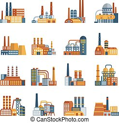 Factory Flat Icons Set - Factory flat icons set with plants...