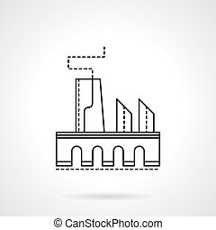 Factory flat line vector icon