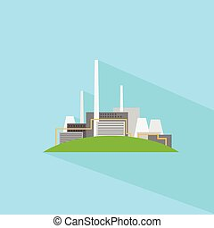 Factory Flat Plant Icon Vector Illustration