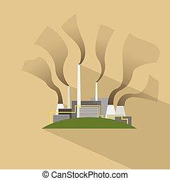 Factory Flat Plant Smoke Pipe Icon