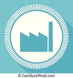 Factory flat vector icon, industry square blue web button