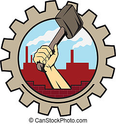 factory icon hand with hammer