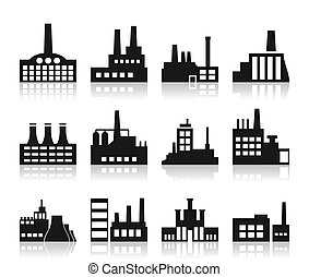 Factory icon - Set of icons on a theme the industry. A...
