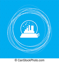 factory icon on a blue background with abstract circles around and place for your text.