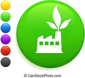 factory icon on round internet button
