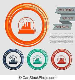 factory icon on the red, blue, green, orange buttons for your website and design with space text. Vector
